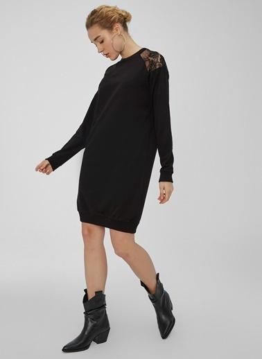 People By Fabrika Omuzları Dantel Detaylı Triko Elbise Siyah